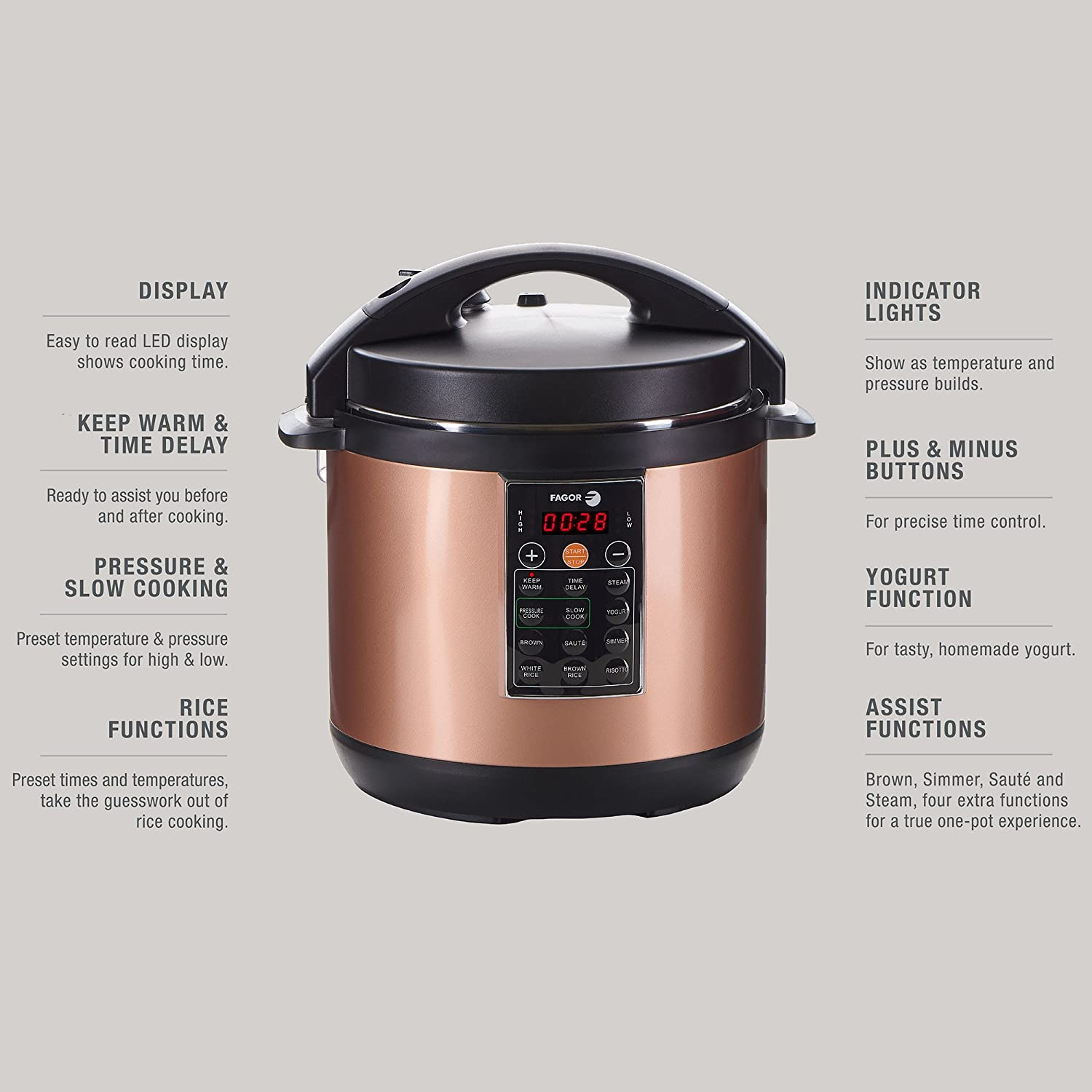 Kitchen small appliance circuit - Amazon Com Fagor Lux Multi Cooker 8 Quart Copper Electric Pressure Cooker Slow Cooker Rice Cooker Yogurt Maker And More 935010053 Kitchen