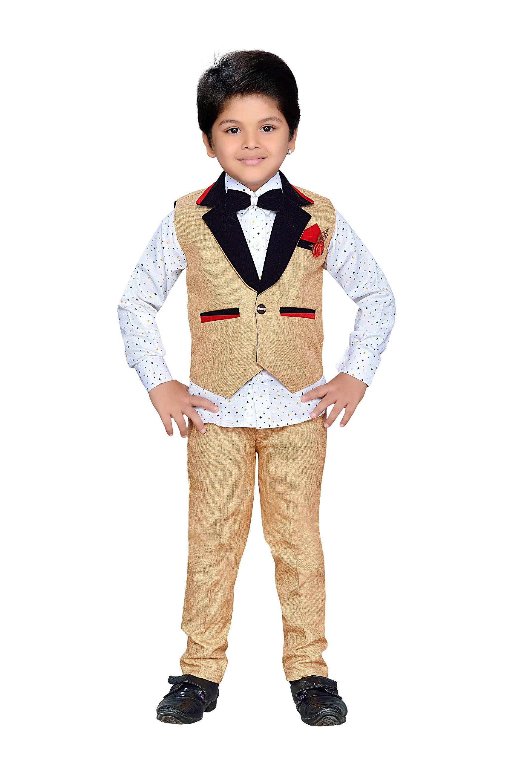 AJ Dezines Kids Indian Wear Bollywood Style Shirt Waistcoat and Pant Clothing Set for Boys (805-FAWN-2)