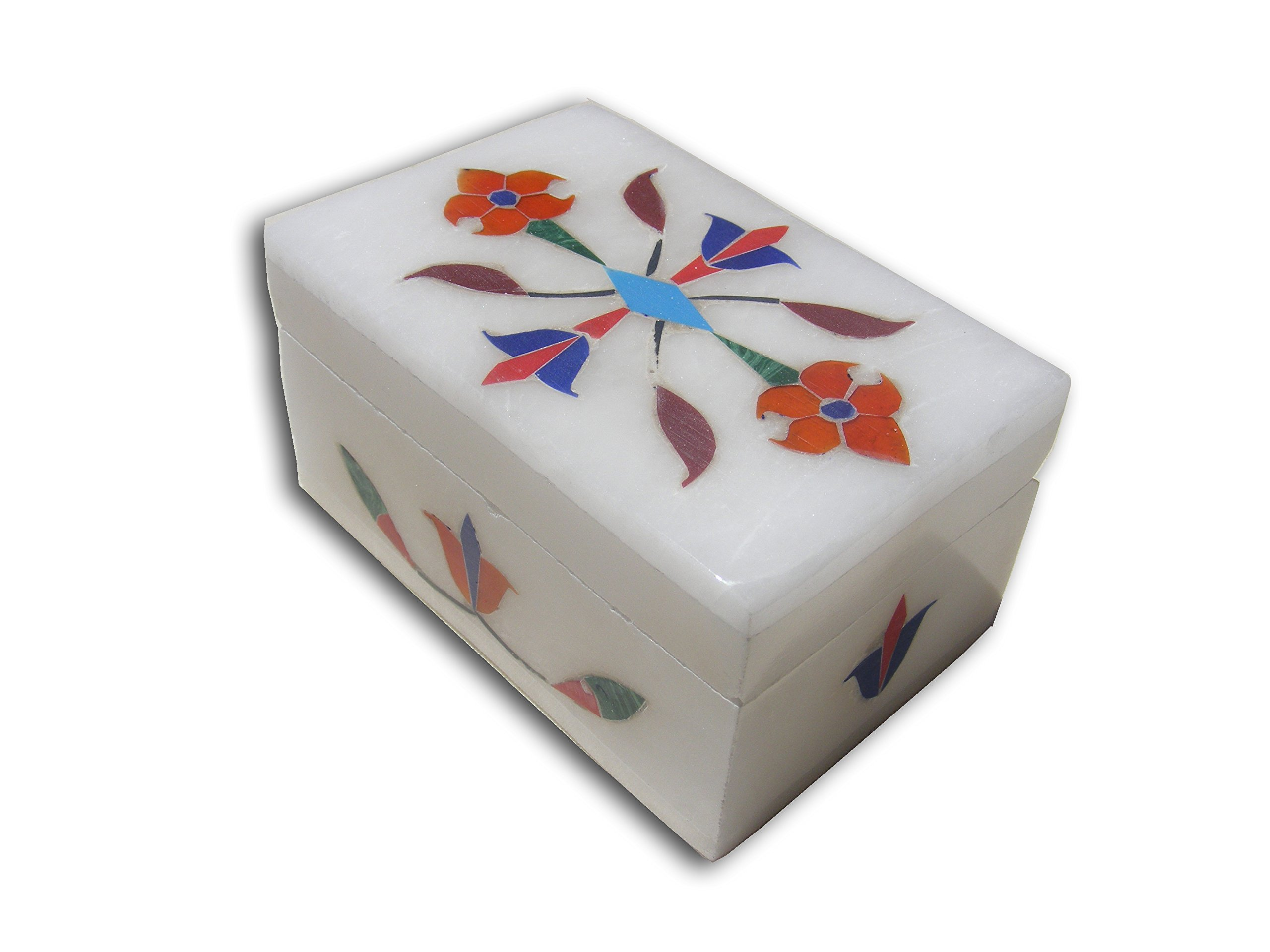 3'' Handmade White Alabaster Soapstone Box, Trinket Jewelry Storage Box, Inlay Work Design
