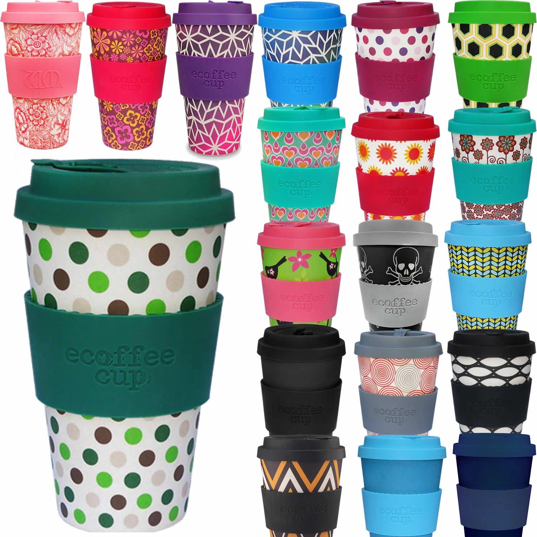 LS Design /Öko eCoffee Cup 400ml Coffee to Go Becher Silikonring Bamboo Bambus Basket Case Schwarz Weiss