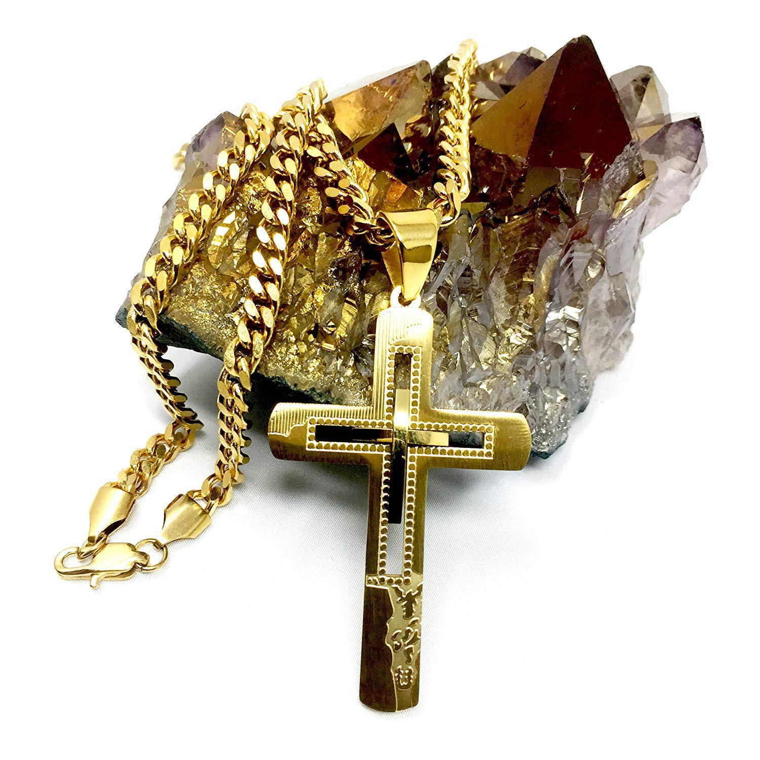 Hollywood Jewelry 18K Gold Chain Cross Pendant Necklace for Men, Women w/Real Strong Solid Clasp Miami Cuban Link Style