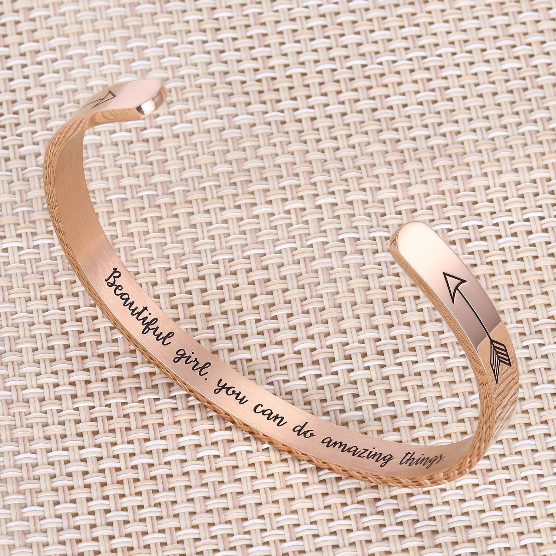 BRIGHT MOON Inspirational Bracelet for Women Friendship Encouragement Gifts Sister Bracelet Motivational Mantra Cuff Bangle for her/…