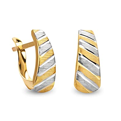 14 Carat 585 Gold Hoop Earrings Two-Tone Matte & Shiny