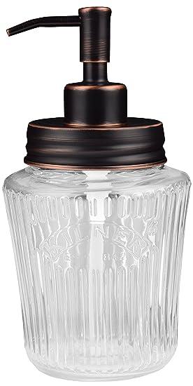 Vintage tarro dispensador de jabón Mason | negro | acero inoxidable | Kilner | 500 ml | cristal | ecojars: Amazon.es: Hogar