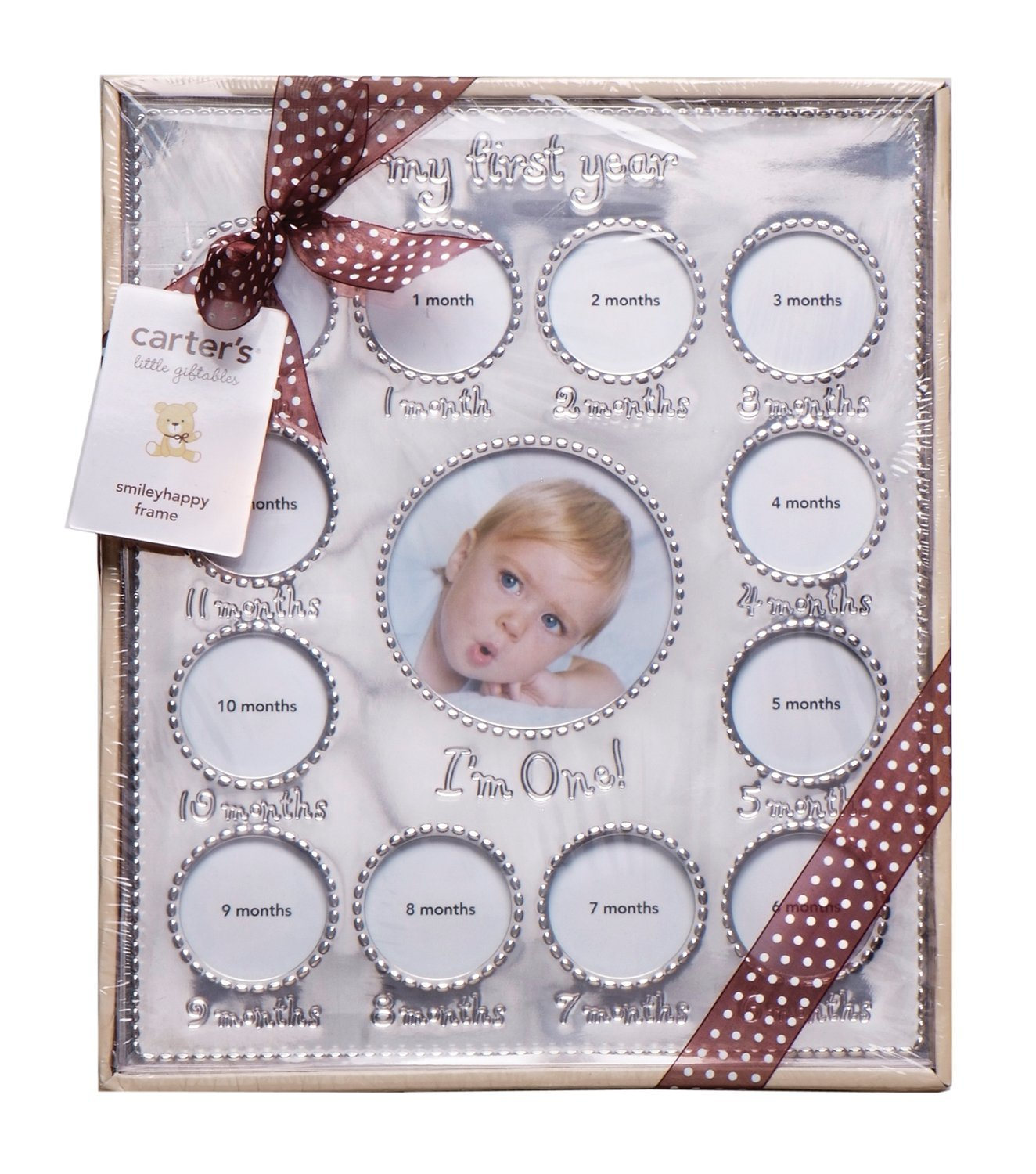 Amazon.com : Carter\'s Year of Photos Frame - Silver : Baby Keepsake ...