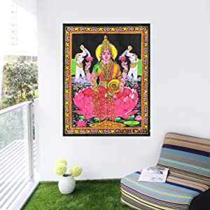 Rastogi Handicrafts Maa Lakshmi Goddess of Wealth & Prosperity - Cotton Tapestry Indian Goddess
