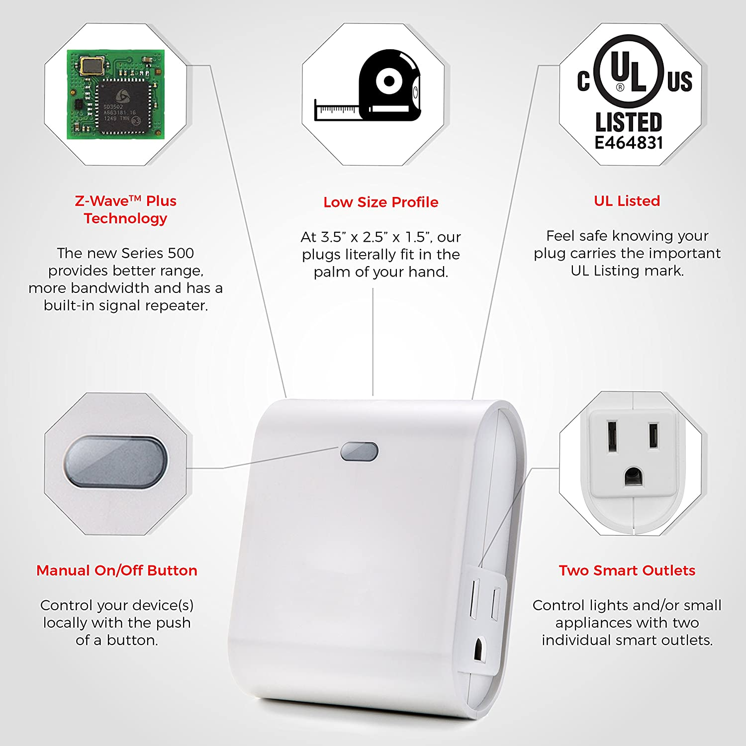 Dual Z-Wave Plug w/Built-In Repeater | Control 2 Outlets ...