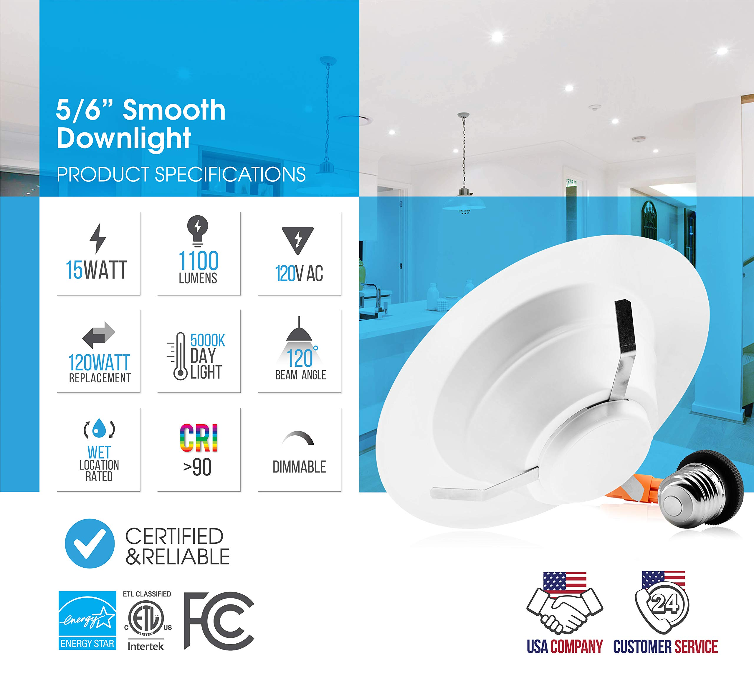 Parmida (12 Pack) 5/6 inch Dimmable LED Recessed Retrofit Downlight, 15W (120W Replacement), EASY INSTALLATION, 1100lm, 1100Lm, ENERGY STAR & ETL, LED Ceiling Down Light, LED Trim, 5000K (Day Light) by Parmida LED Technologies (Image #3)