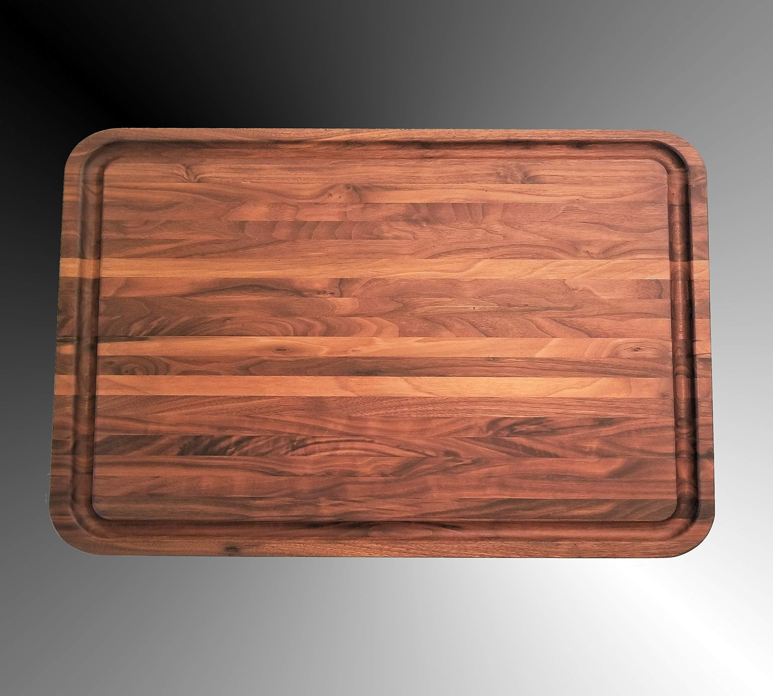 Walnut Cutting Board Extra Large Ovesize, 24 x 18 x 1.5 IN, Edge Grain, Reversible, Hardwood Chopping and Carving Countertop, Deep Well Juice Groove, Handmade by Pacific Wood In the USA.