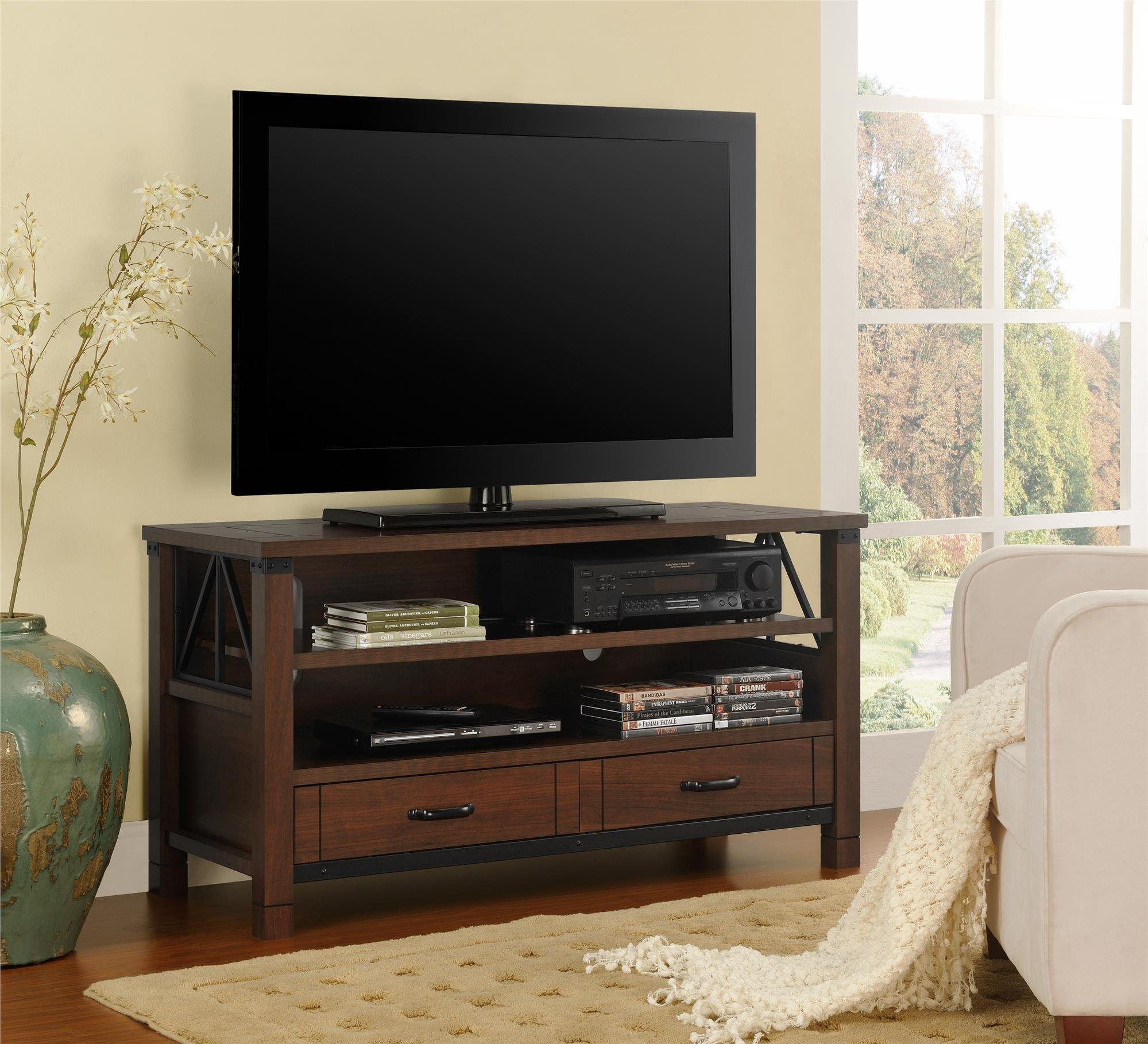 Ameriwood Home Buchannan Ridge TV Stand for TVs up to 50'' Wide (Dark Cherry)