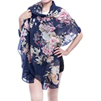 Floral Scarfs for Women Lightweight Large Oblong Feeling Cotton Scarf Summer Wrap