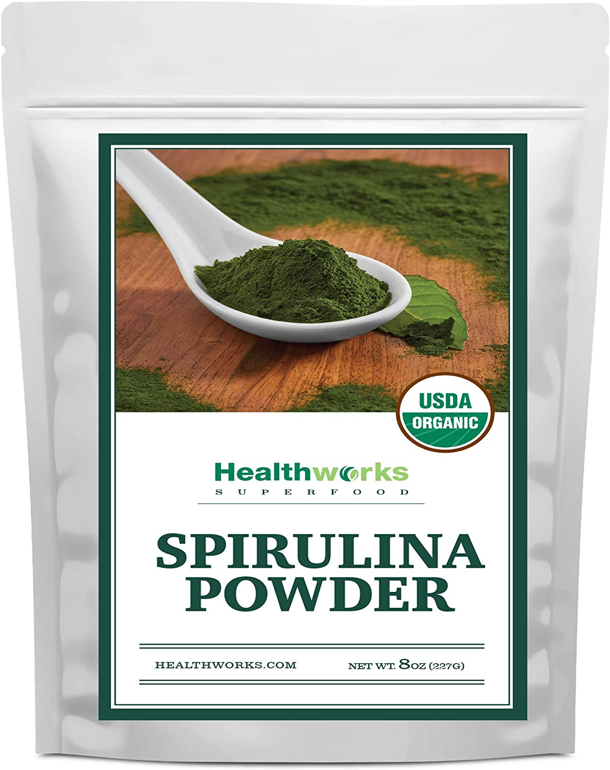 Healthworks Spirulina Powder Organic Raw (8 Ounces) | All-Natural & Non-Irradiated Algae | Great with Smoothies, Shakes & Oatmeal | Antioxidant Superfood