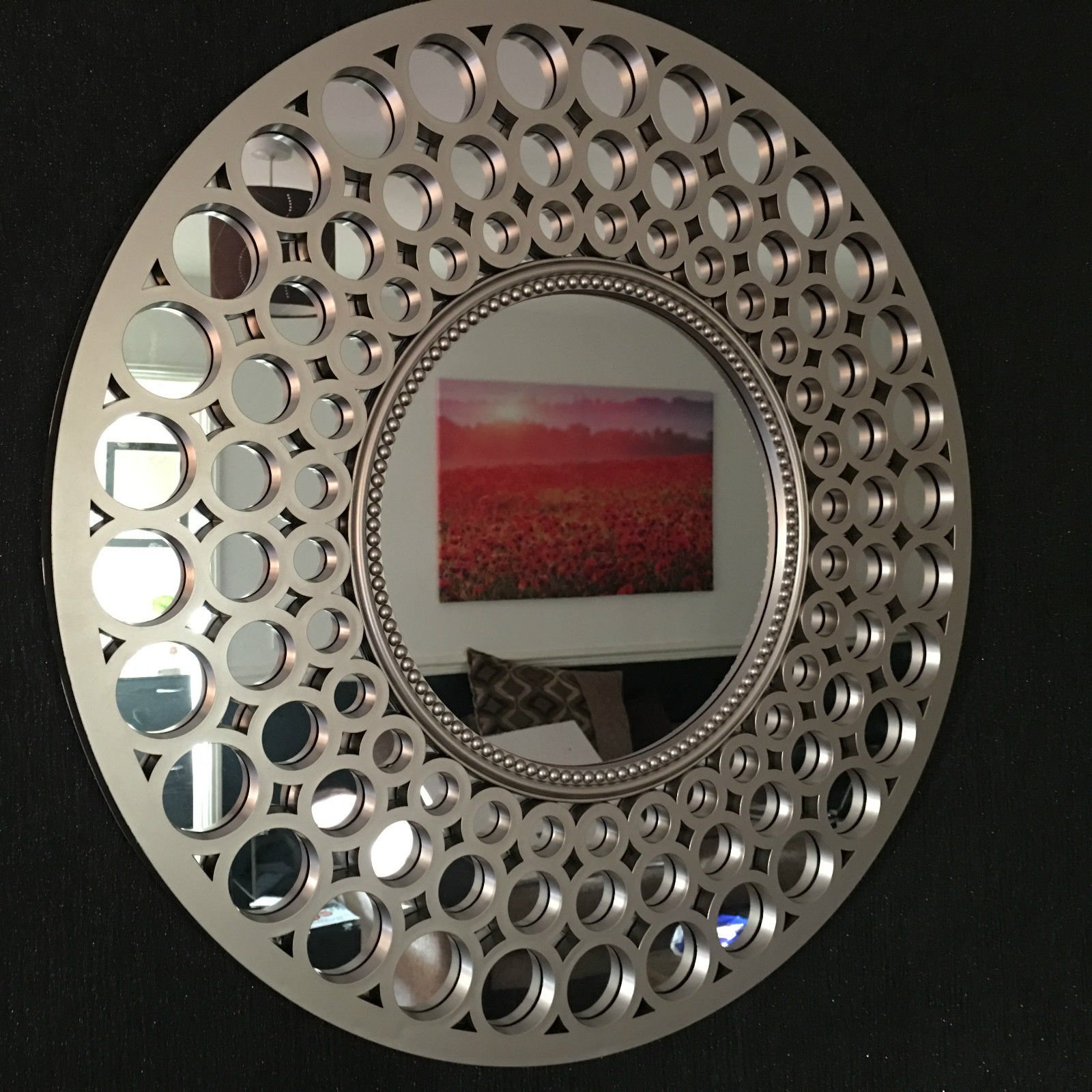 CAPRISTAR 63cm Round GOLD Mirror Home Decor Designer Wall Mirror Beautiful Decoration Art Piece Gift