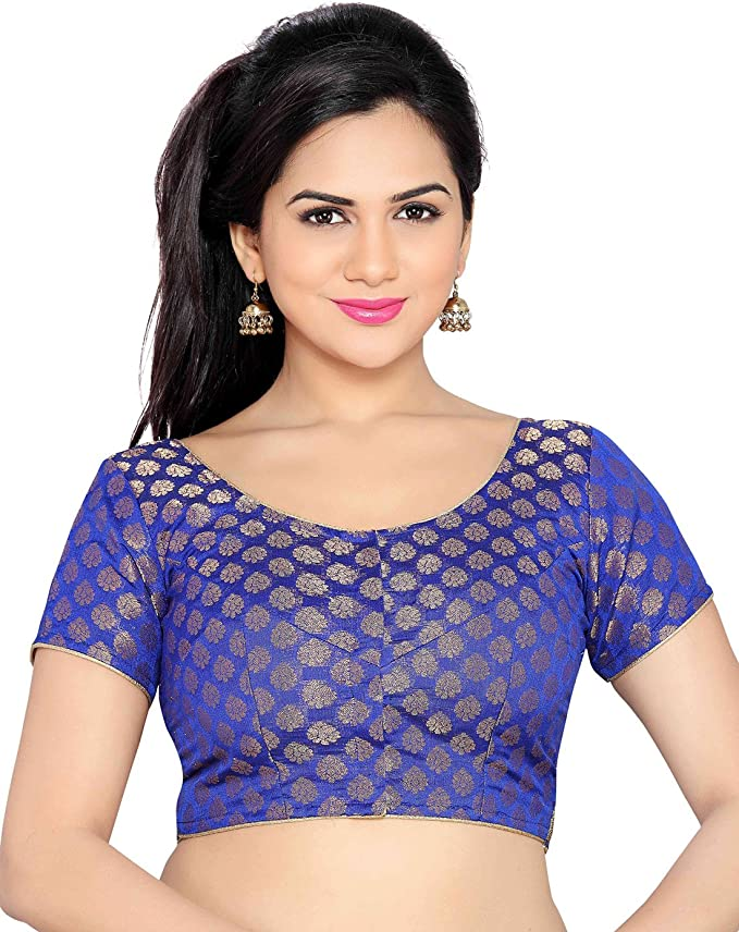Studio Shringaar Blue Solid Short Sleeve Non-Padded Blouse Women's Saree Blouses at amazon