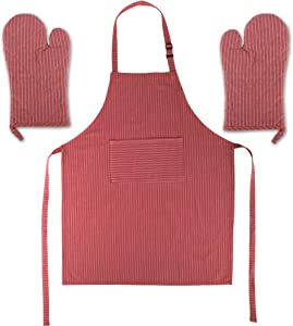 P&Ko Apron and Oven Mitts Set of 3 - Premium Quality 1 Apron, 2 Oven Mitts, Perfect Design 100% Pure Cotton Apron in Large Size with Pockets, Adjustable Neck Strap, for Cooking, Baking, Coffee, BBQ