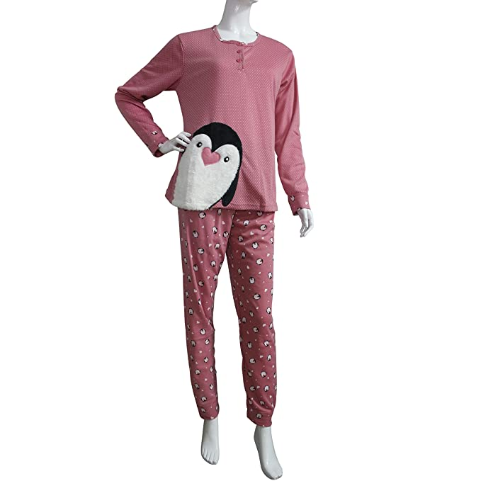 FERETI (S) Pijama Mujer Pinguino Peluche Rosa Pink Otoño Animales Invierno Flanelado Polar Conjunto
