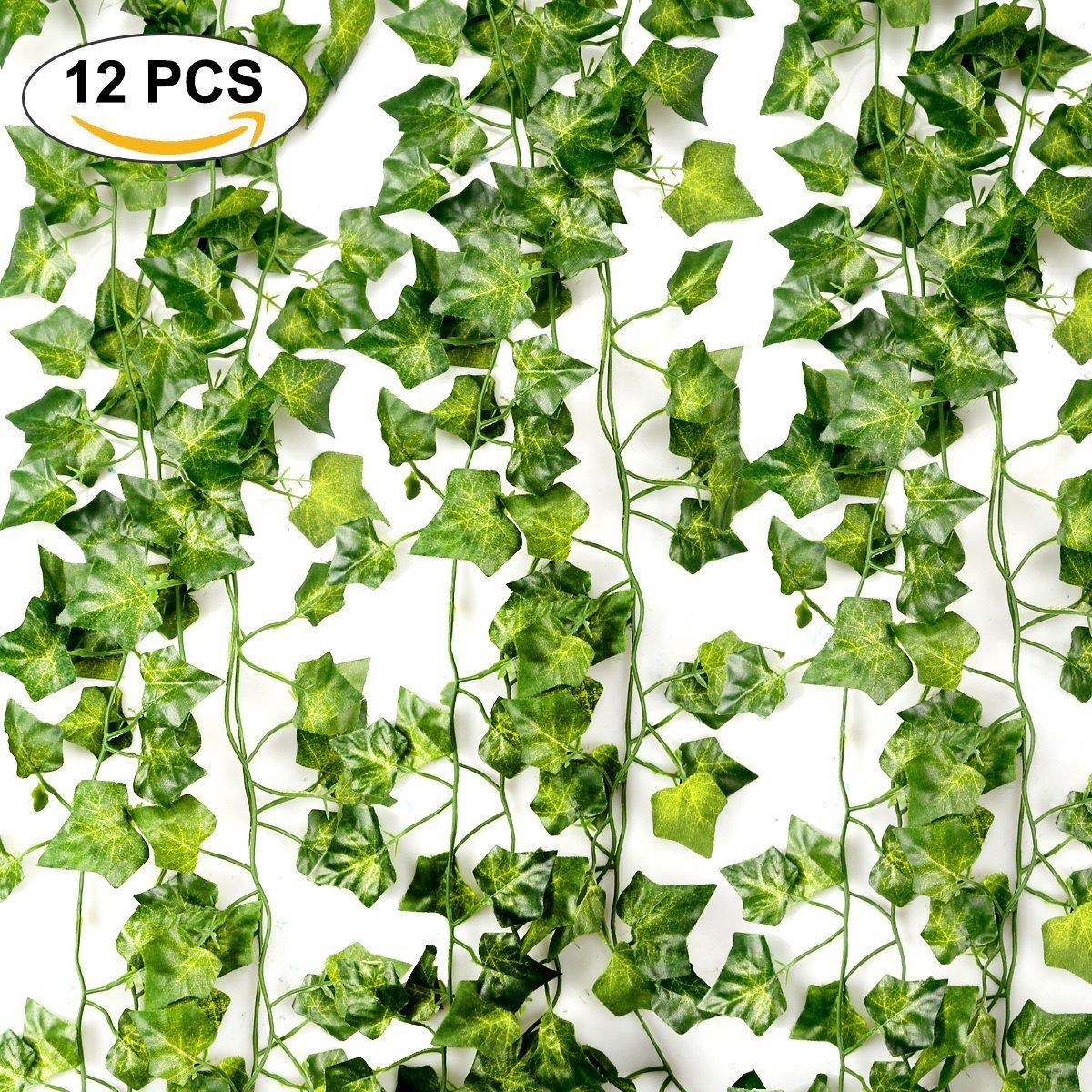 Artificial Ivy Leaf Garlands, 84 Ft-12 Pack Artificial Ivy Plant Garland Plants Vine Hanging Foliage Realistic Green Leaves Decoration Flowers For Home House Greenery Garden Office Wedding Decorations Yard Wall Staircase Fencing Christmas Autumn Outdoor J