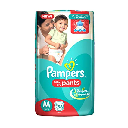 Buy Pampers Medium Size Diapers Pants 56 Count Online At Low Prices In India
