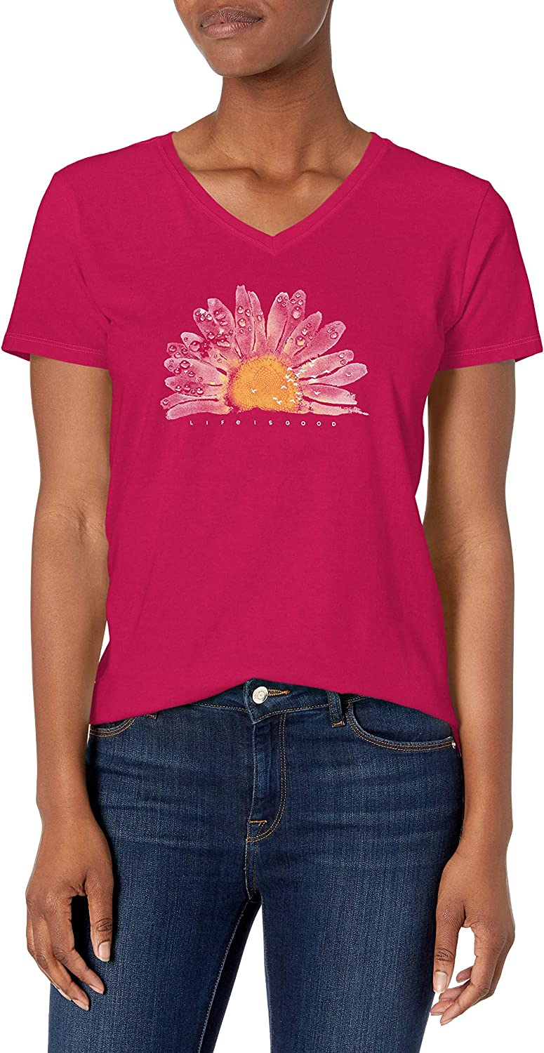 Life is Good Womens Crusher Collection Flower Grpahic V-Neck T-Shirt