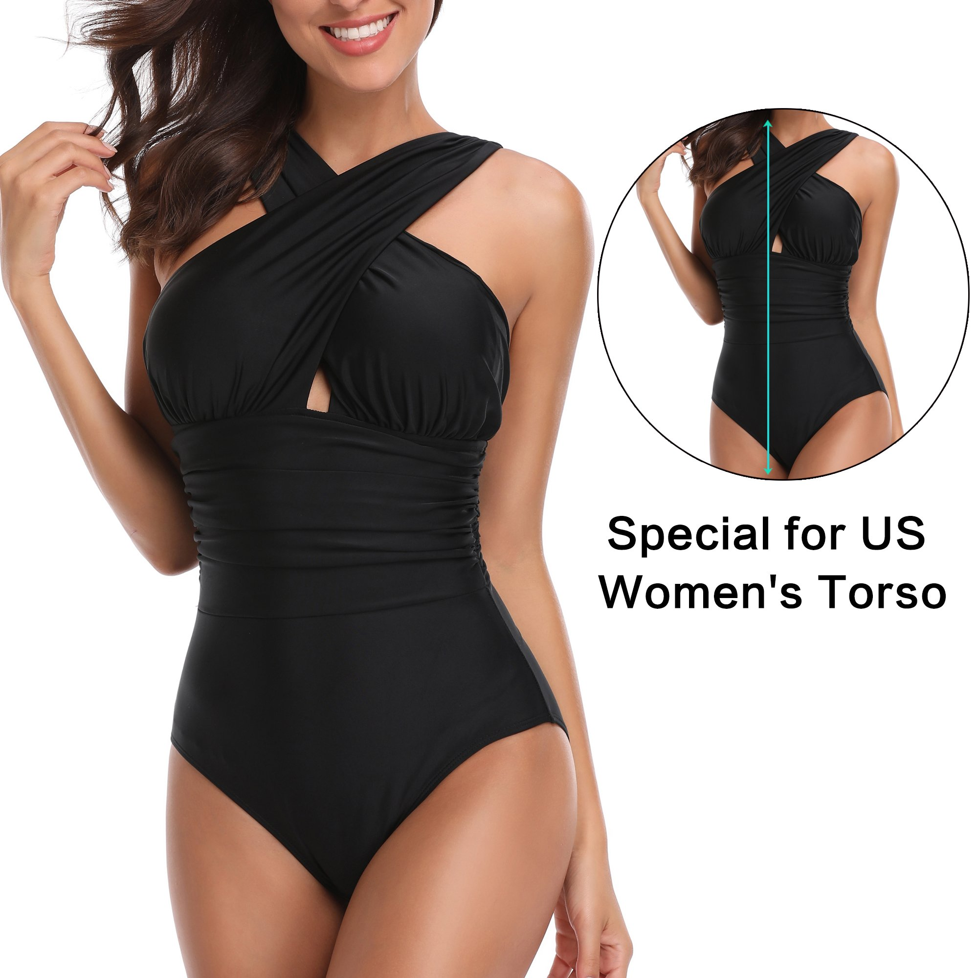 W YOU DI AN Women's One Piece Cross Ruffled Backless Full Coverage Swimsuit Bathing Suit Beachwear(Black, L) by W YOU DI AN (Image #4)