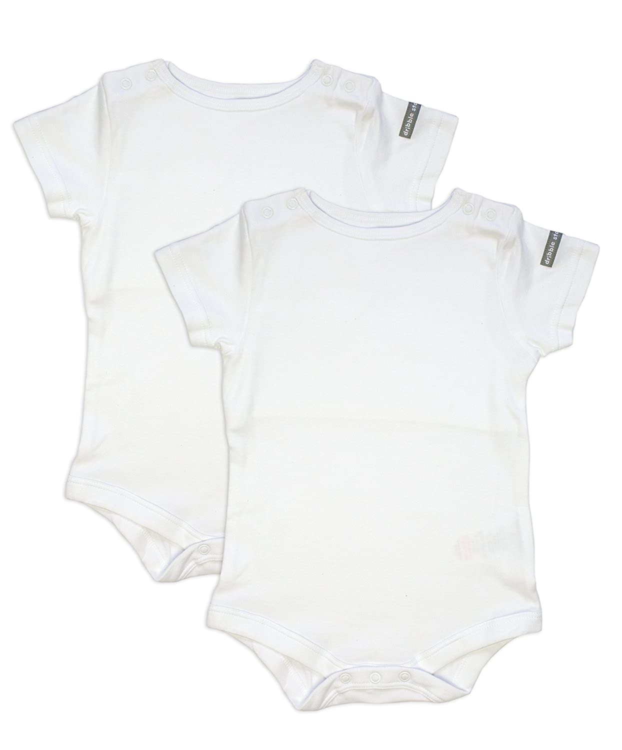 Dribble Stop Top Unisex Baby Packet 2 Vest White 12-18 Months DST BB Body Suit