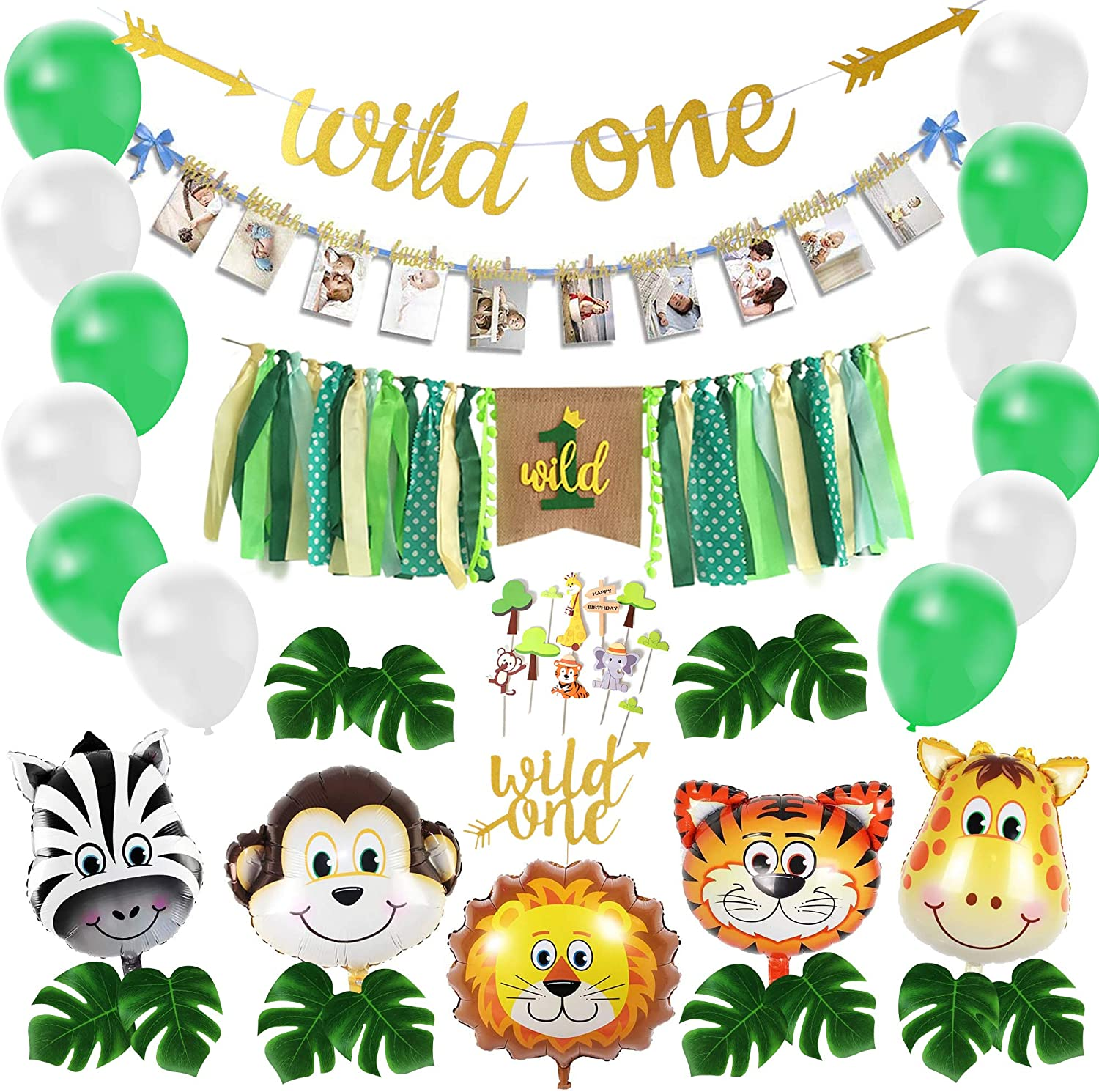 Wild One Birthday Decoration, Safari Baby First Bday Decor Kit, Jungle 1st Bday Party Balloon Set