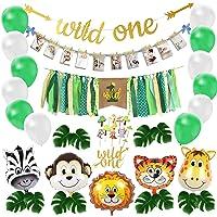 Wild One Birthday Decoration, Safari Baby First Bday Decor Kit, Jungle 1st Bday Party Balloon Set