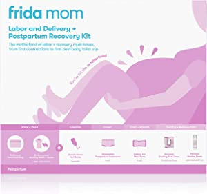 Frida Mom Hospital Packing Kit for Labor, Delivery, Postpartum | Nursing Gown, Socks, Peri Bottle, Disposable Underwear, Ice Maxi Pads, Pad Liners, Perineal Foam, Toiletry Bag (15 Piece Gift Set)