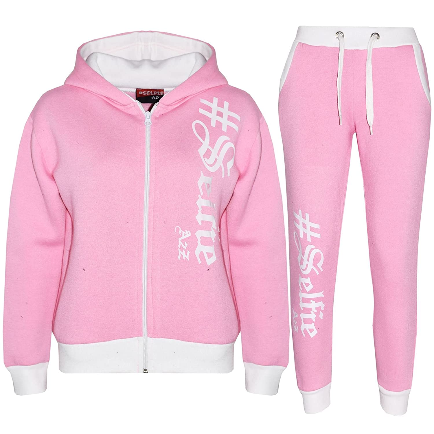 A2Z 4 Kids® Kids Tracksuit Boys Girls Designer's #Selfie Print Zipped Top Hoodie & Botom Jogging Suit Joggers Age 5 6 7 8 9 10 11 12 13 Years