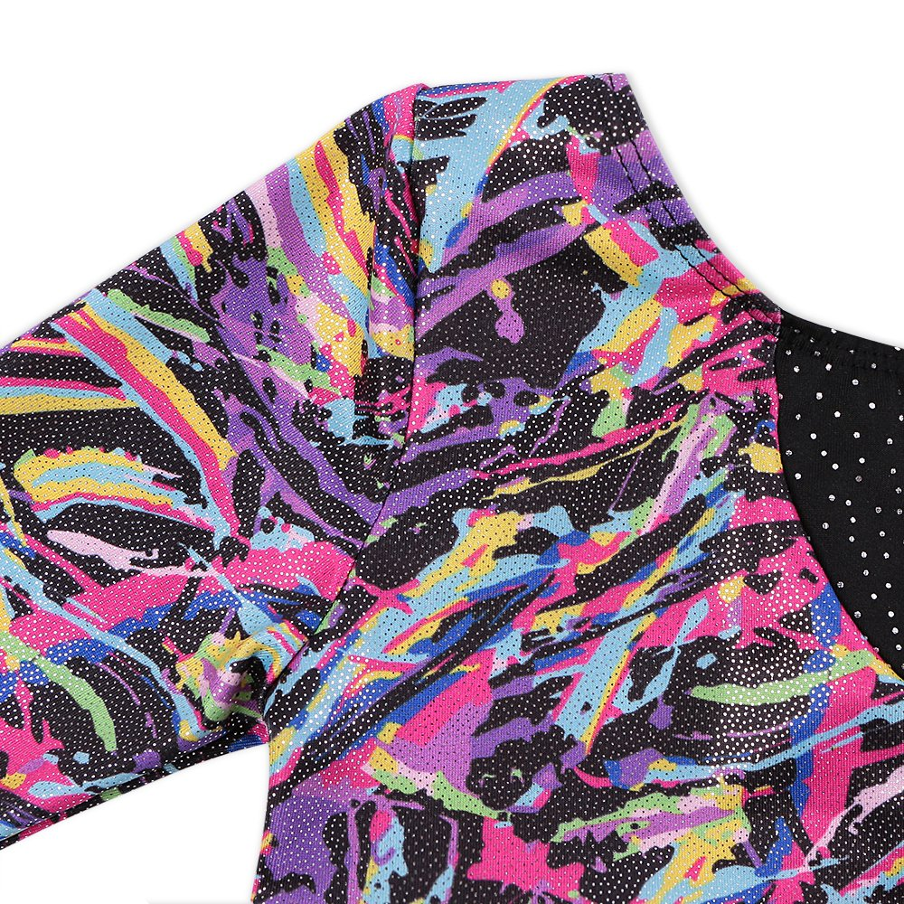 Leotards for Girls Gymnastics Long Sleeve Colorful Ribbons Pink Leopard Stripe (130(5-6T), Colorful Ribbons+Blue Stripe)