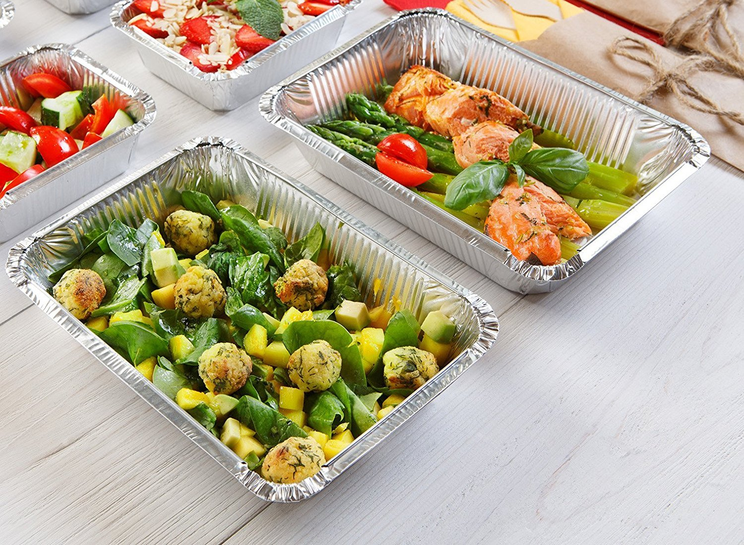 50-Pack Heavy Duty Disposable Aluminum Oblong Foil Pans with Lid Covers | 100% Recyclable Tin Food Storage Tray | Extra-Sturdy Containers for Cooking, Baking, Meal Prep, Takeout - 8.4'' x 5.9'' - 2.25lb by DCS Deals (Image #3)