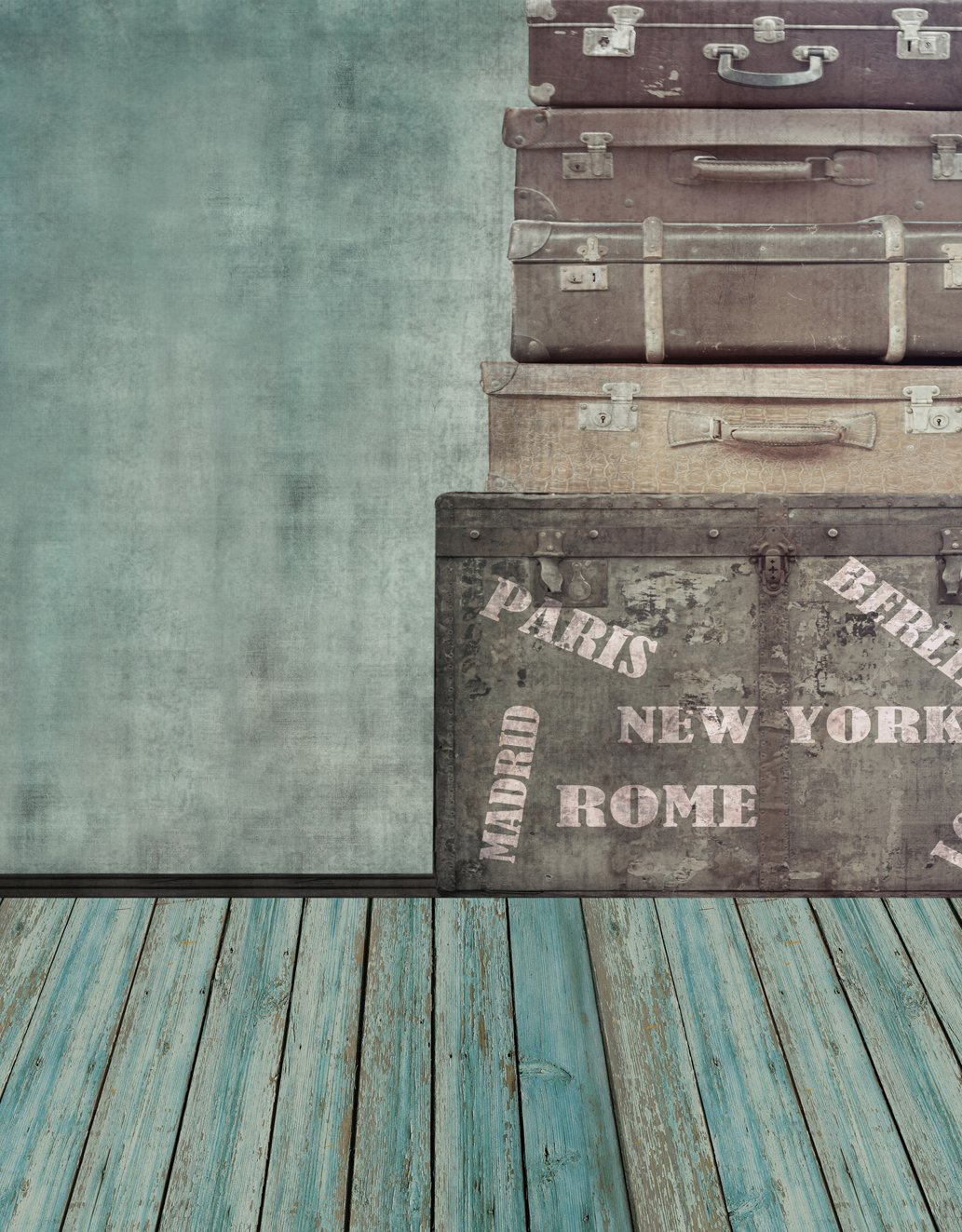 Vintage Wood Suitcase Indoor Vintage Backdrops for Booth Studio Grey Wall with Blue Wooden Floor Photography Background Travel Theme 5×7 ft