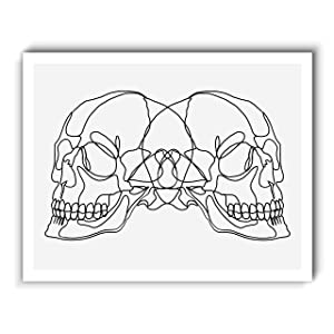Double Skull Line Drawing, Original Abstract Modern Contemporary Art Print, Minimalist Wall Art For Bedroom and Home Decor, Boho Art Print Poster, Country Farmhouse Wall Decor 11x14 Inches, Unframed