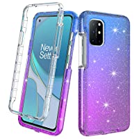 Oneplus 8T 5G Case, Rosebono Hybrid Bling Glitter Sparkle Transparent Fashion Cute Colorful TPU Skin Cover 360 Protection Case with Built-in Screen Protector for Oneplus 8T 5G (Blue/Purple)