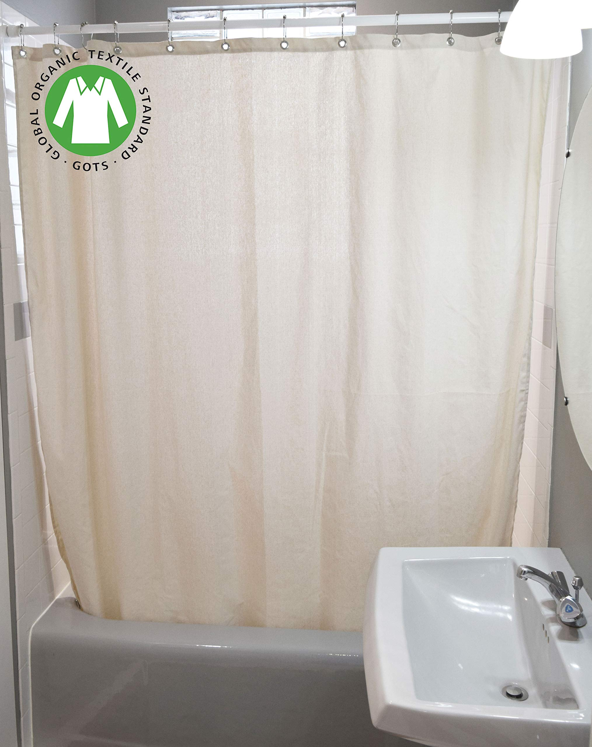 Bean Products Organic Cotton Shower Curtain - 70'' x 74'' - Natural - Also Cotton, Hemp, Linen - Tub, Bath, Stall Sizes - Made in USA
