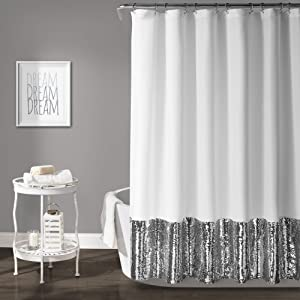 "Lush Decor, Silver & White Mermaid Sequins Shower Curtain, 72"" x 72"""