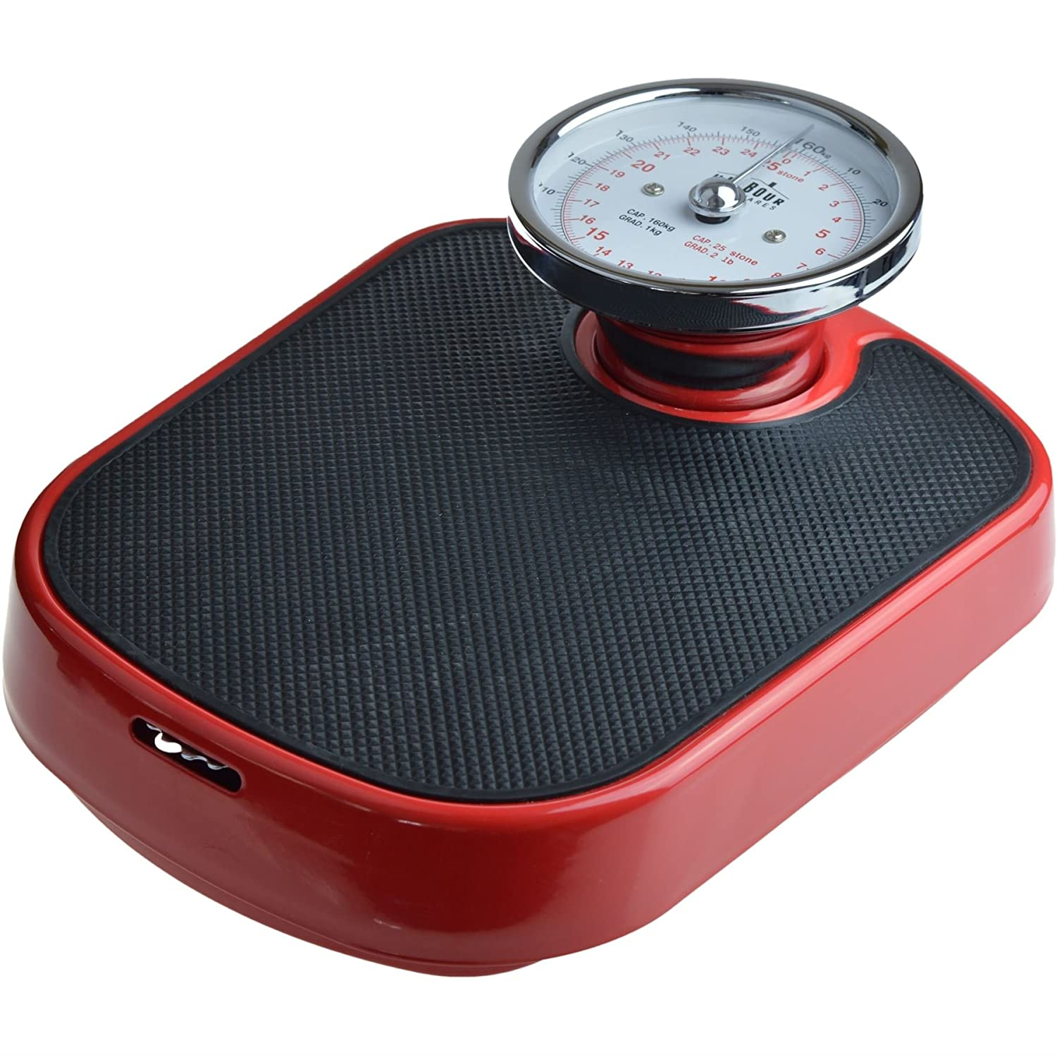 Harbour Housewares Traditional Red Bathroom Scales - 25st (160kg)