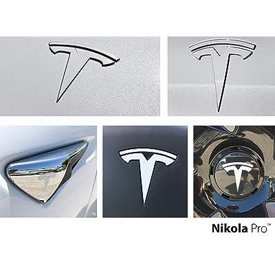 Nikola Pro Tesla Model 3 Logo Decal Wrap Kit (Pearl White Multi-Coat): Automotive