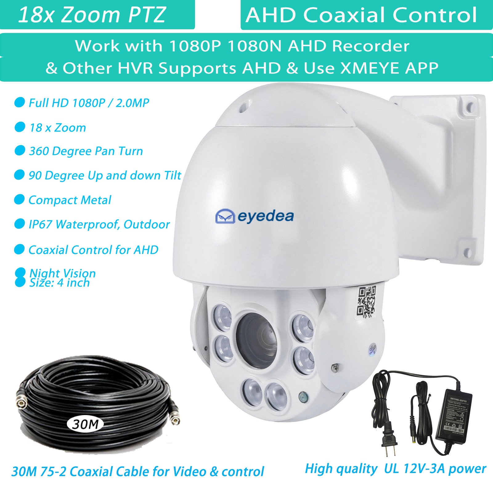 Eyedea 1080P 18 x AHD Outdoor Smart PTZ Speed Dome Pan Tilt Zoom 2.0MP Camera IR Infrared Night Vision Remote RS485 Coaxial Control 5500TVL w/ 30 M Meters 75-2 Coaxial Cable Wire for AHD Recorder