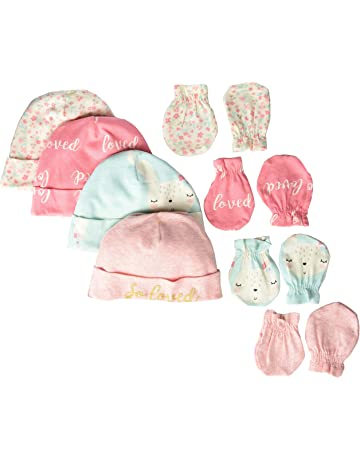 ce5d573e675 Gerber Baby Girls  8-Piece Organic Cap and Mitten Set