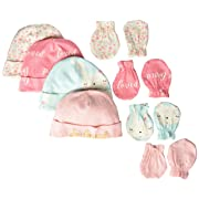 Gerber Baby Girls 8-Piece Organic Cap and Mitten Set, bunny love, Newborn