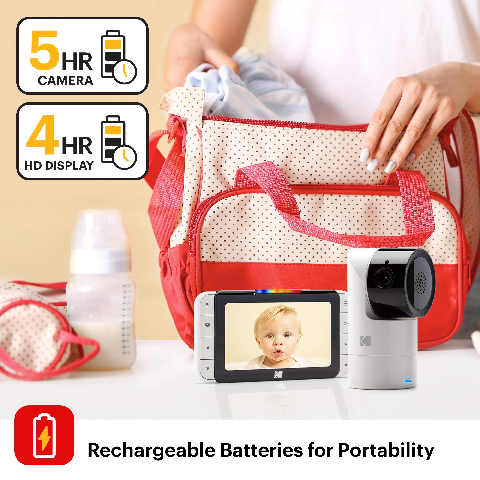 KODAK Cherish C525 Video Baby Monitor with Mobile App - 5'' HD Screen - Hi-res Baby Camera with Remote Tilt, Pan and Zoom, Two-Way Audio, Night-Vision, Long Range - WiFi Indoor Camera by Kodak (Image #6)