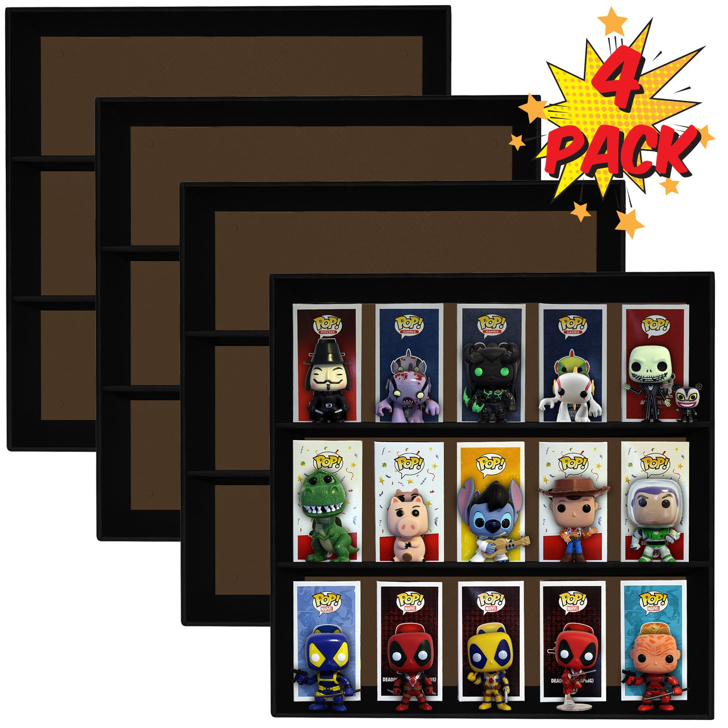 4 Pack, Display Geek Exclusive Stackable Toy Shelves for 4 in. Funko Pop Vinyl Collectible Figures, Black Corrugated Cardboard
