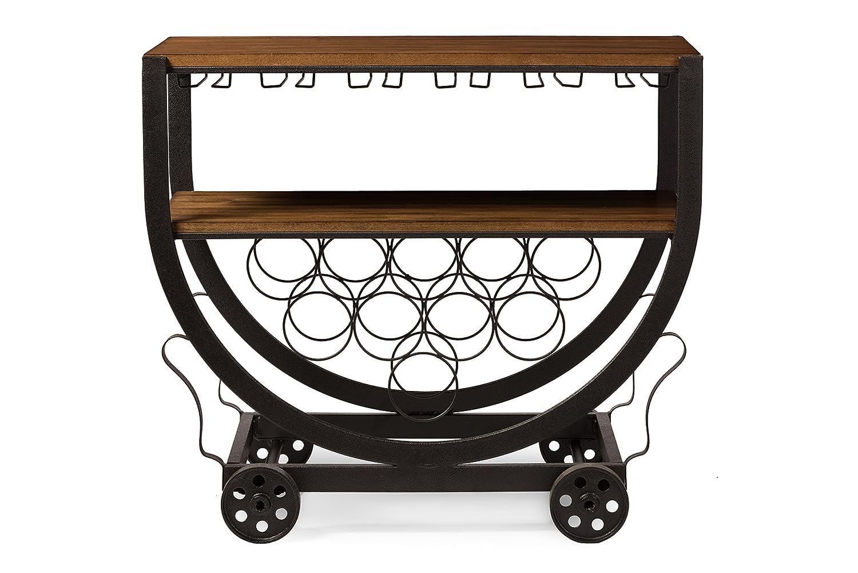 Baxton Studio Triesta Antiqued Vintage Industrial Metal /& Wood Wheeled Wine Rack Cart