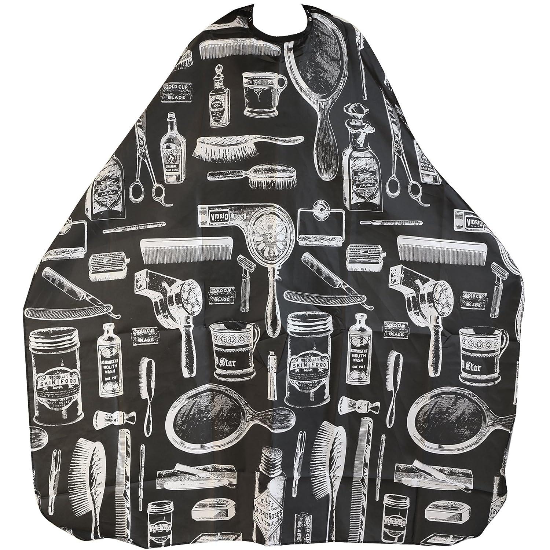 TRIXES Friseur Umhang schwarz gemustert Salon Cape Frisieren perfekt zum schneiden, färben, bleichen etc. färben
