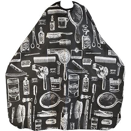 TRIXES Capa Bata con Estampado Negro para Adultos Salón Peluquería Barberos perfecta para Corte, Coloración