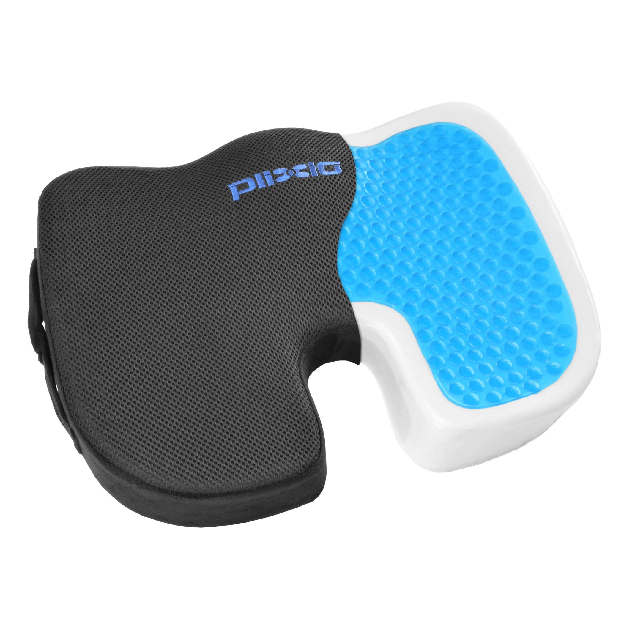 Plixio Gel Seat Cushion Memory Foam Chair Pillow with Cooling Gel for Sciatica, Coccyx, Back & Tailbone Pain Relief - Orthopedic Chair Pad for Support in Office Desk Chair, Car, Wheelchair & Airplane