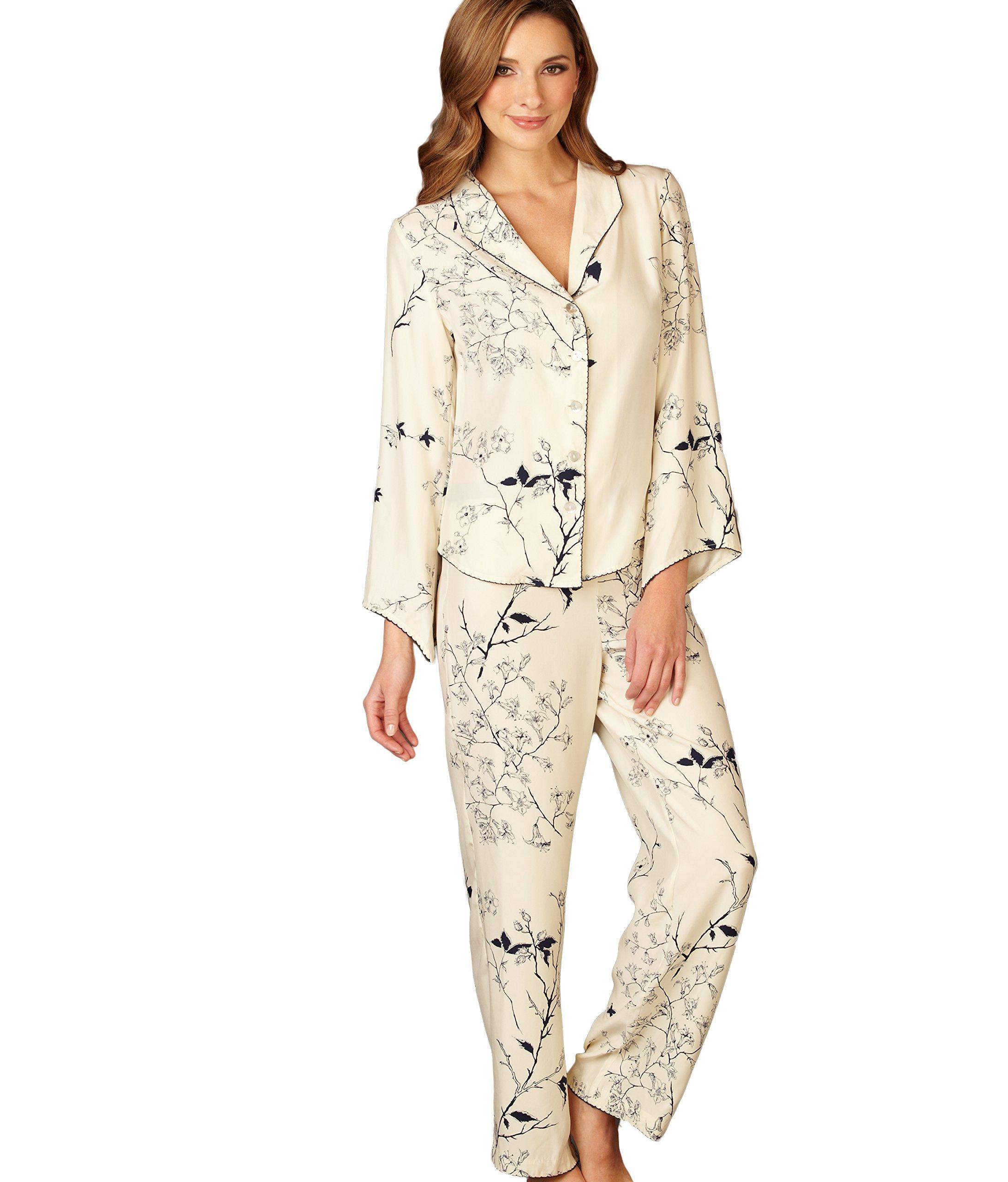 Julianna Rae Women's Goodnight Midnight 100% Silk Pjs, Midnight Floral, L