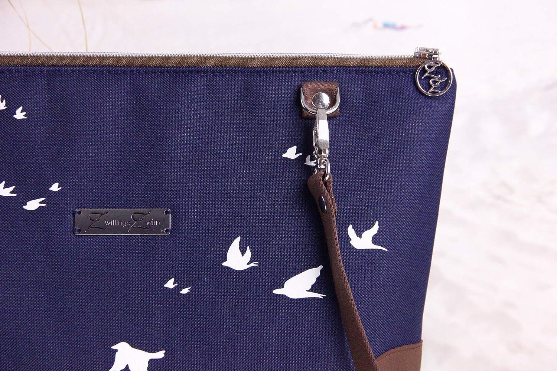 Schultertasche mit V/ögel Wei/ß//Blau//Braun *inkl Geburtstagsgeschenk Blau Rei/ßverschlussinnenfach* Schwalben Leder Umh/ängetasche Geschenk f/ür Frauen Damen Handtasche