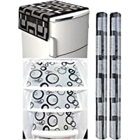 Factcore Combo of Refrigerator Cover (Black Box), 2 Handle Cover (B&W) and 3 Fridge Mats(B&W)(Circle) Standard Size; -Set of 6 Pieces
